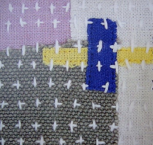 Visible mending on patchwork. Look for this in my shop soon- I just need to remember to frame it:)