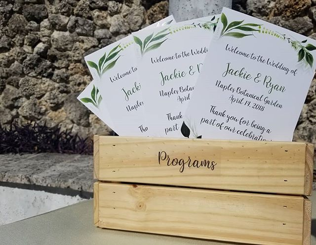 Our team is in Naples, FL today! Loving the touch of greenery in their programs.  #weddingprograms #weddingplanner #destinationwedding #gardenwedding