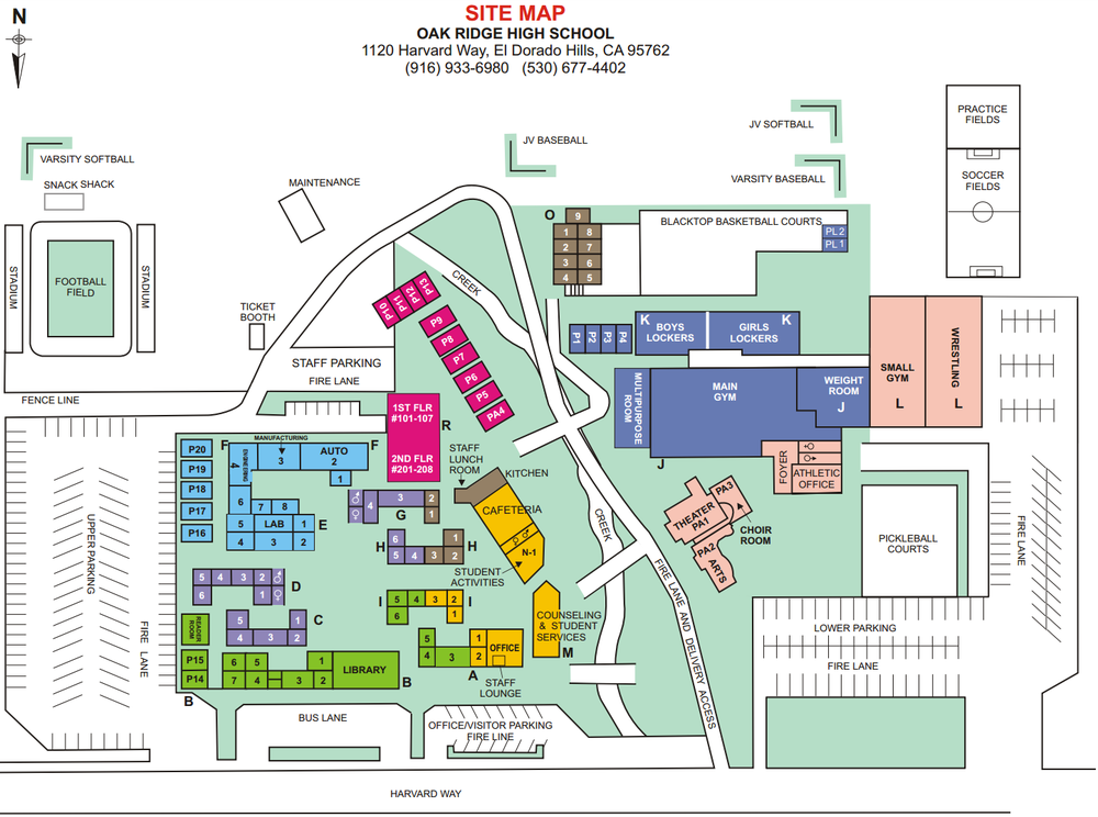 Oak Ridge High School ASB Leadership School Map Directions - Map sites for directions