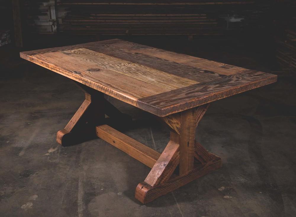 Merveilleux Farmhouse Style Reclaimed Wood Trestle Table