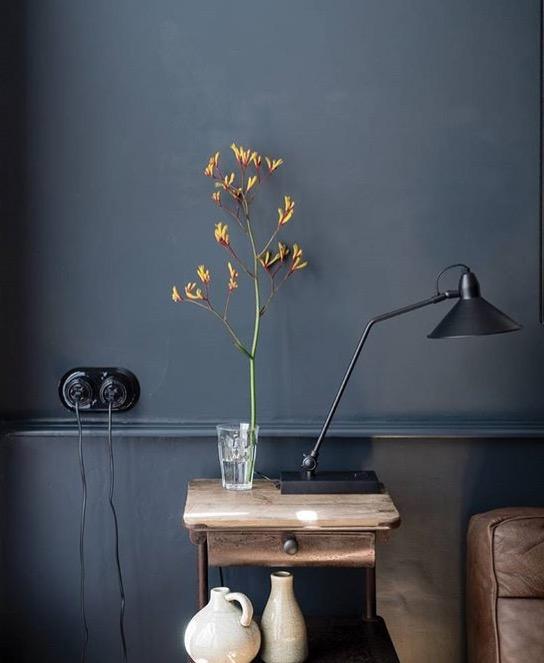 farrow and ball, paint, kitchen, art, midcentury modern, modern, design, paint, bold color,