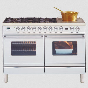 RRP $13,699.00,    SALE $9,235.00   Ilve- PD120S5WMP,  1200mm Duel Fuel Range, with 2 x 600mm electric multi-fucntion ovens & 5 gas burner + simmer plate cooktop.