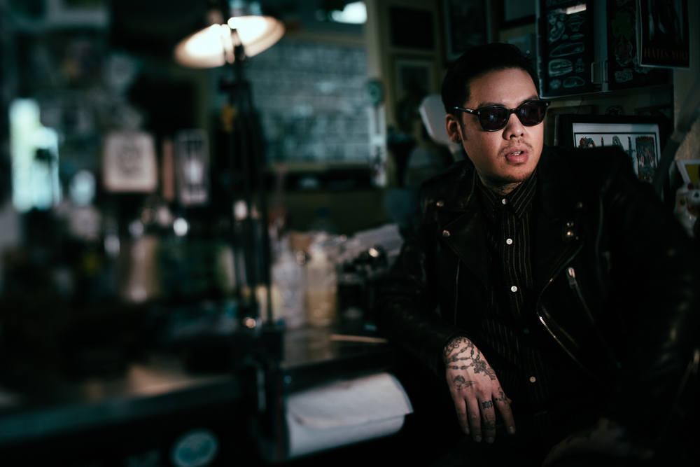 Dr Woo, Tattoo artist at Shamrock Social Club studio in Hollywood. Photo by Flavio Scorsato