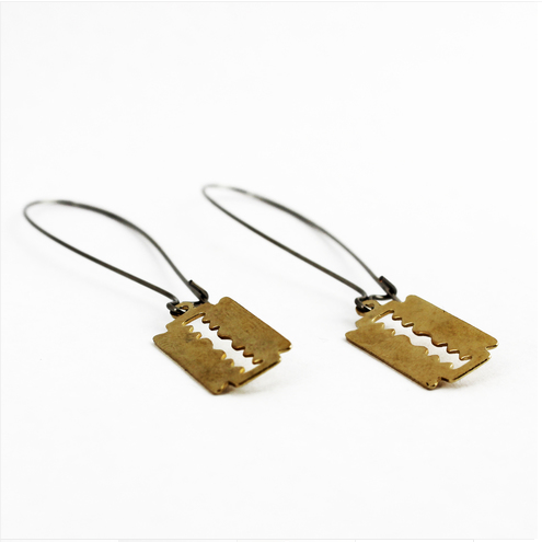 Mini Razor Blade earrings