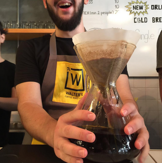 """Mr. Akay brewing some magic Chemex with Organic Indonesian Sumatra Mandheling beans"" from @walterscoffee on instagram"