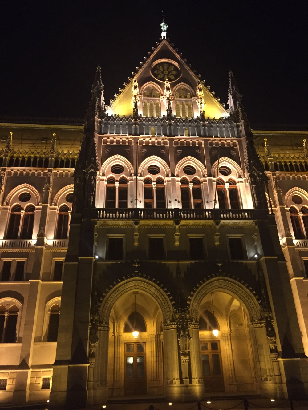 Crazy huge Budapest buildings light the sky at night! We were actually here during a political protest...very intense.