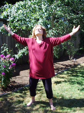 """Wu Ji"" translates as ""limitless, boundless"". Wu Ji Chi was translated to me as ""no obstruction to the flow of the chi"". Chi is the Chinese term for the body's subtle energies. There are several different forms of exercises to assist with keeping the body's subtle energy system flowing correctly, which is thought to be essential to good health. Ones most familiar to many are tai chi and qigong/chi gong. Wu Ji Chi is an advanced form exercise where the body spontaneously moves in an attempt to break up any blockages in the system. In the above picture I am demonstrating an opening that often presents itself when one lets go and begins Wu Ji Chi. Wu Ji Chi is a physically expanding practice involving letting go so the body can move as it needs to heal itself. It has been my personal practice for over 20 years."