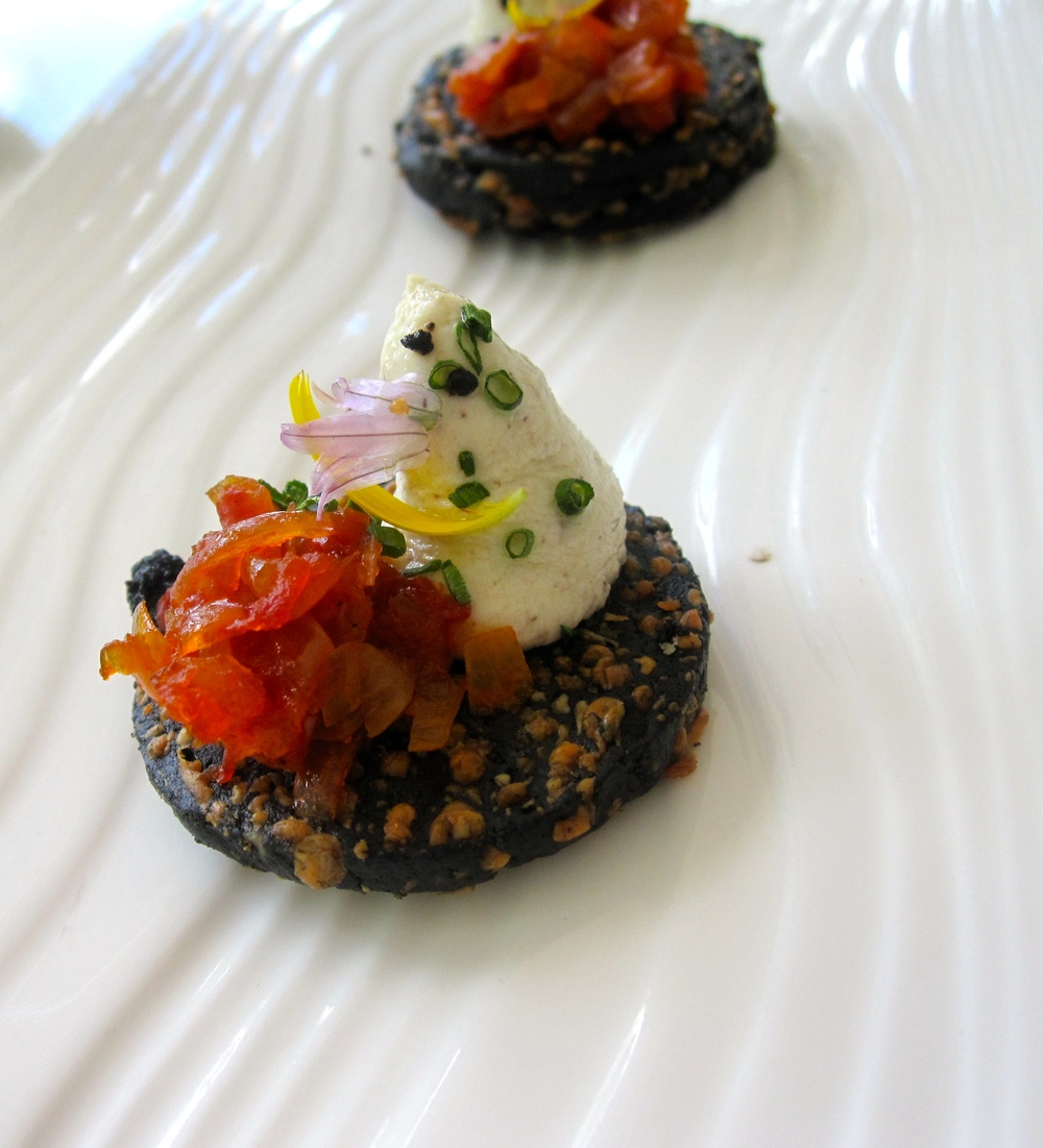 Black Olive and Parmesan Sable, truffled goats cheese, red pepper confiture