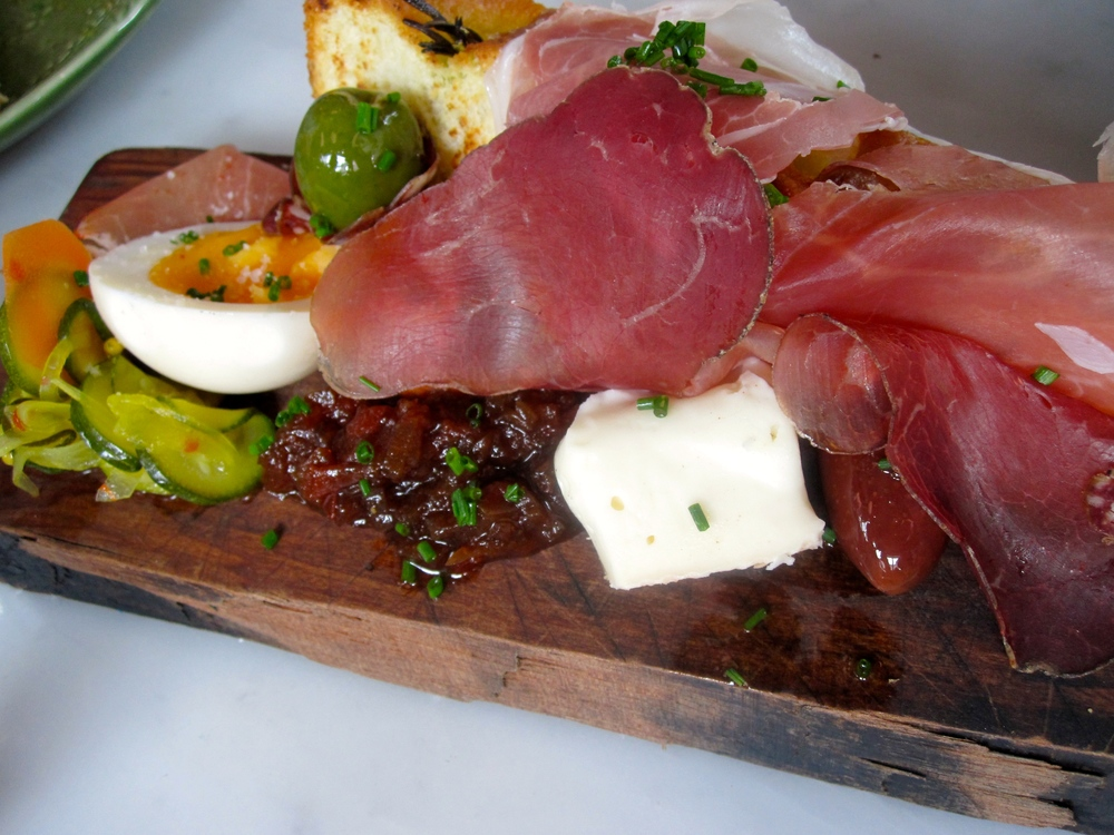 Lucas' contadino style cured italian meats w duck pate, warm foccacia & Penes' pickles