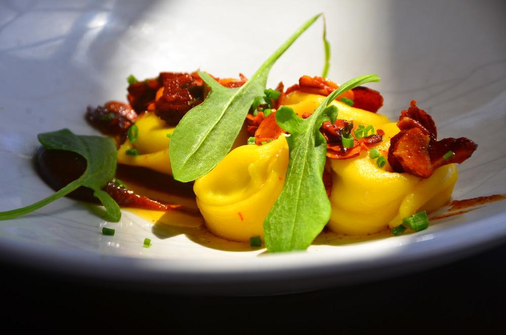 Saffron gnocchi, goats curd, burnt butter, confit fig.