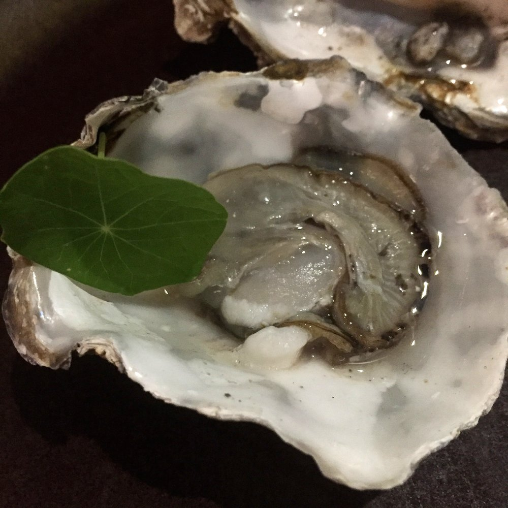 seasonal chargrilled oysters, aged sherry vinegar, sea grapes