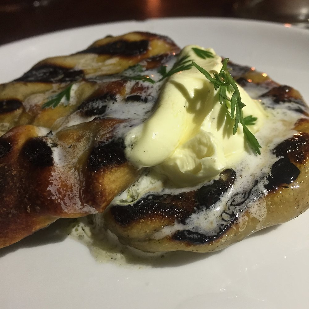 grilled rewena flat bread with titi butter