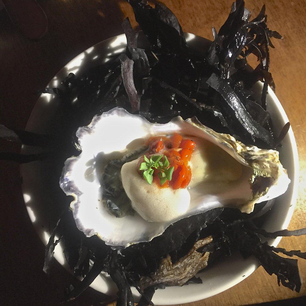 fresh oyster and karamu berry mignonette foam, pickled karamu berries