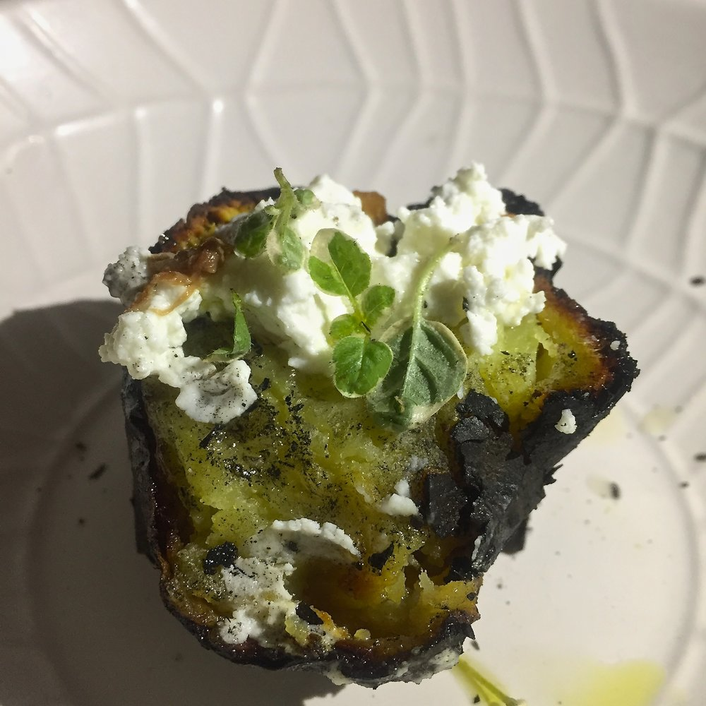 charred kumara and goat cheese