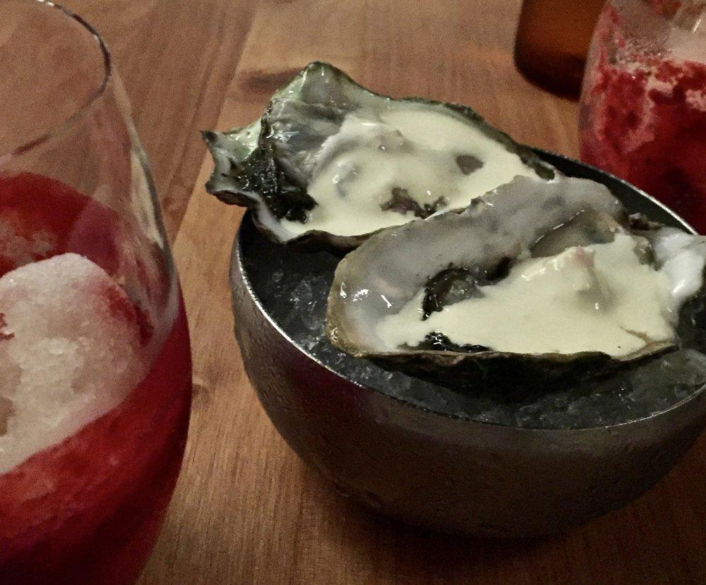 Orongo Bay Oysters - chardonnay vinegar, shallot, cream