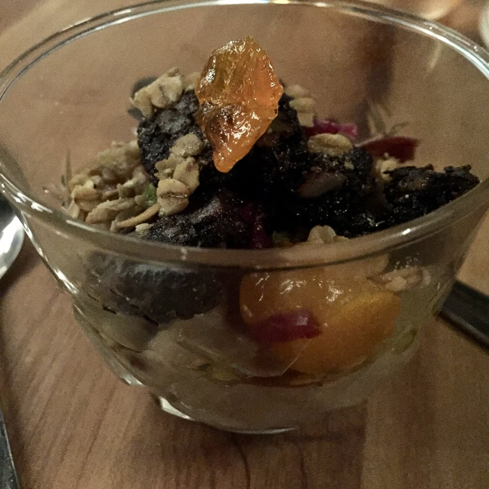 Black PuddingPorridge - yuzu kosho, egg yolk, fermented red cabbage