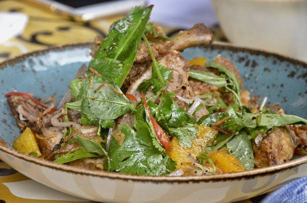 Crispy quarter duck with orange, ginger, Vietnamese mint and spiced salt 15 crowns