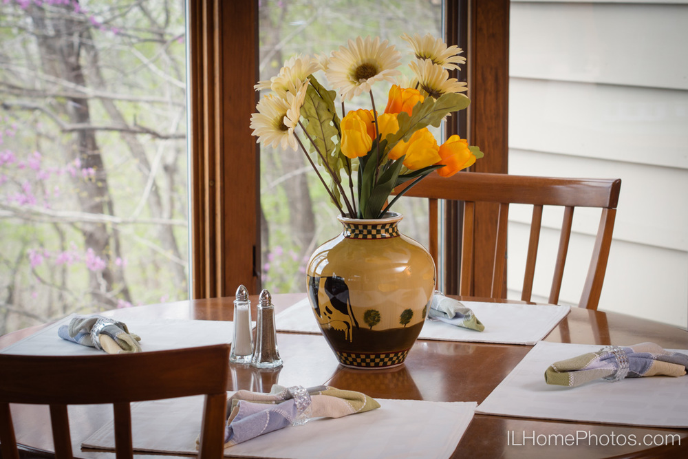 Interior home photograph (kitchen table   with place settings and flowers   - staging detail)   for real estate   in East Peoria, IL :: Illinois Home Photography by Michael Gowin, Lincoln, IL