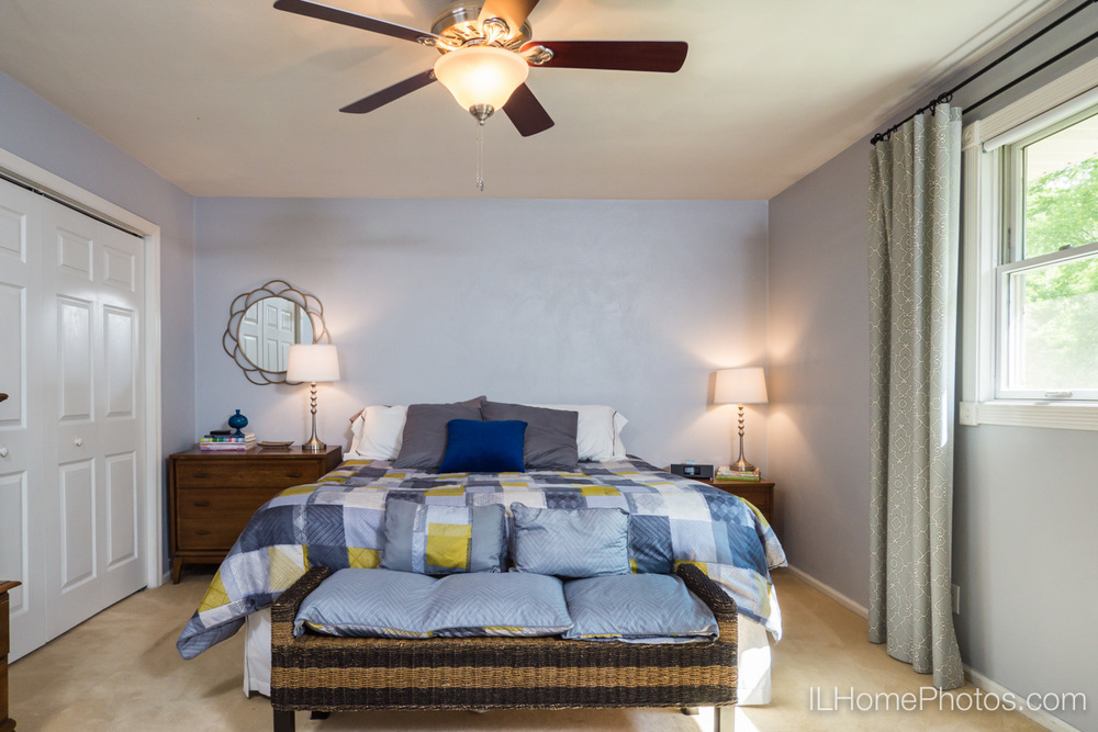 Master bedroom interior photograph for real estate in Peoria, IL :: Illinois Home Photography by Michael Gowin, Lincoln, IL