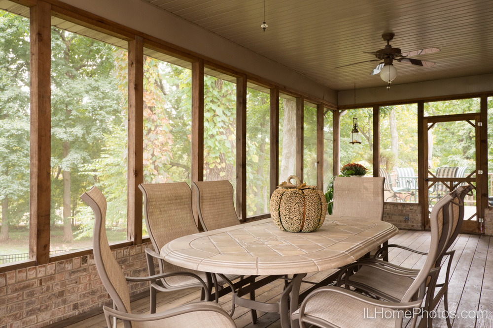 Enclosed back porch photograph for real estate in Elkhart, IL :: Illinois Home Photography by Michael Gowin, Lincoln, IL