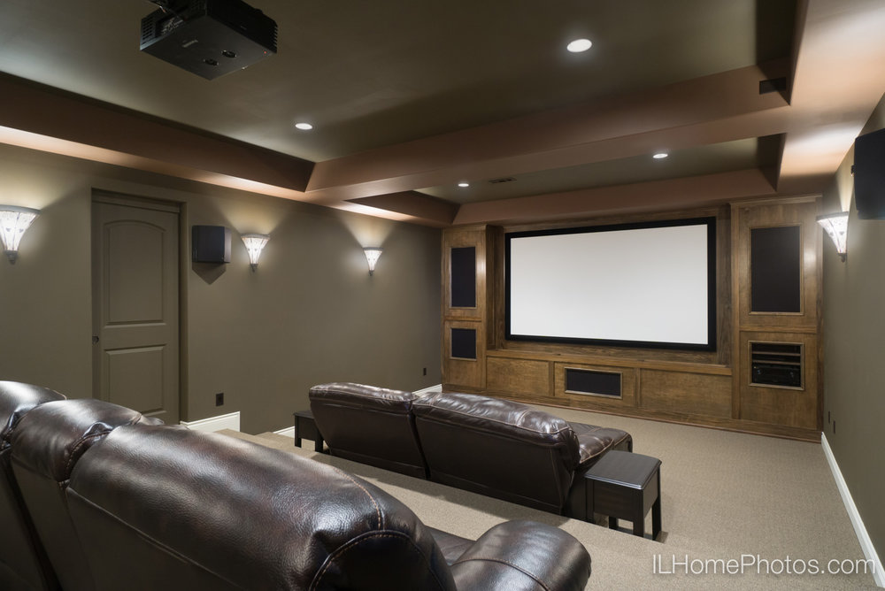Interior home theater photograph for real estate :: Illinois Home Photography by Michael Gowin, Lincoln, IL