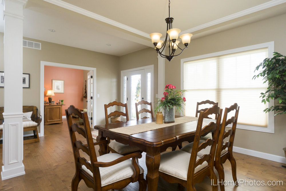 Interior dining room photograph for real estate in Springfield, IL :: Illinois Home Photography by Michael Gowin, Lincoln, IL