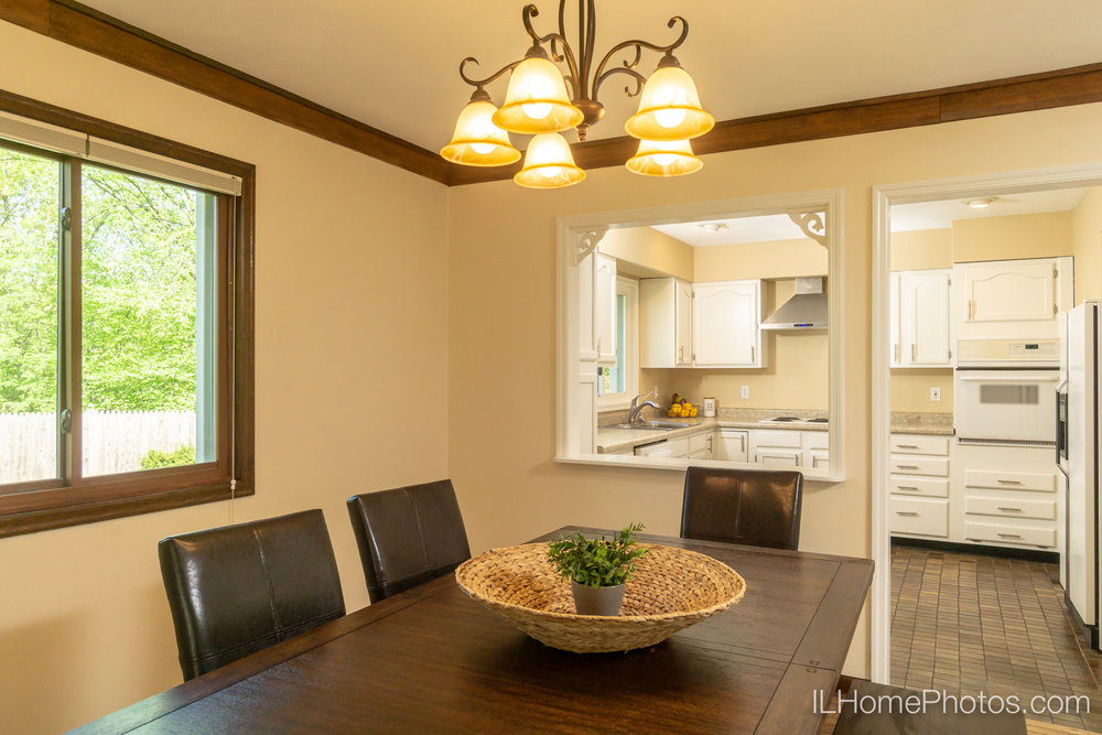Interior dining room and kitchen photograph for real estate in Chillicothe, IL :: Illinois Home Photography by Michael Gowin, Lincoln, IL