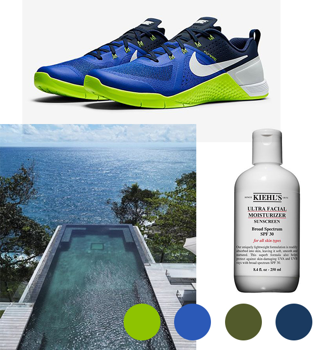Images appear courtesy of Pinterest. Metcon shoes by Nike. Suncreen by Kiehl's. Swimming pool by design-milk.com