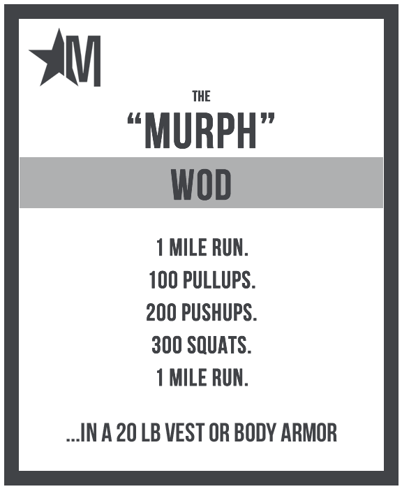 Image credit www.murphchallenge.com. If you would like to participate in the Murp workout next year, you can click here for the Murph Challenge .