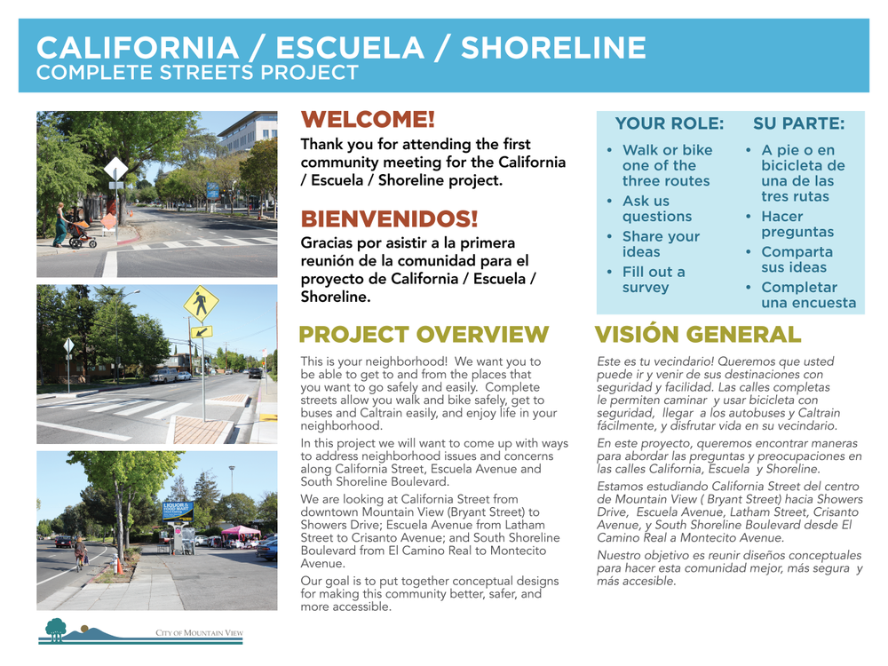 Mountain View California Escuela Shoreline Project - Walk Shop Presentation Board
