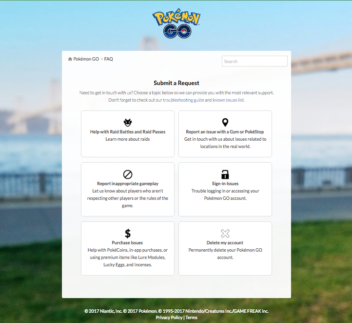Pokemon Go request form for removing PokéStops