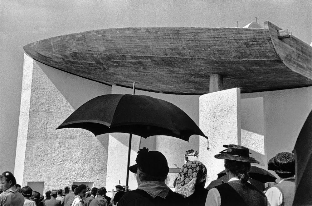 René Burri. Inauguration of the Chapel of Notre Dame du Haut, built by Le Corbusier, Ronchamp, France 1955. Photograph, gelatin silver print on paper. Image: 346 x 524 mm