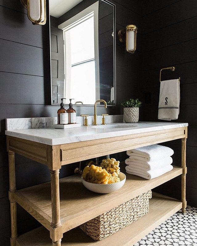Yes of course we're fans of white ship lap walls, but come on.... this beautiful black bathroom is giving us all heart eyes over here! 😍 Designed by @studiomcgee | Captured by Travis J Photography #thedesignhunters #designhunting