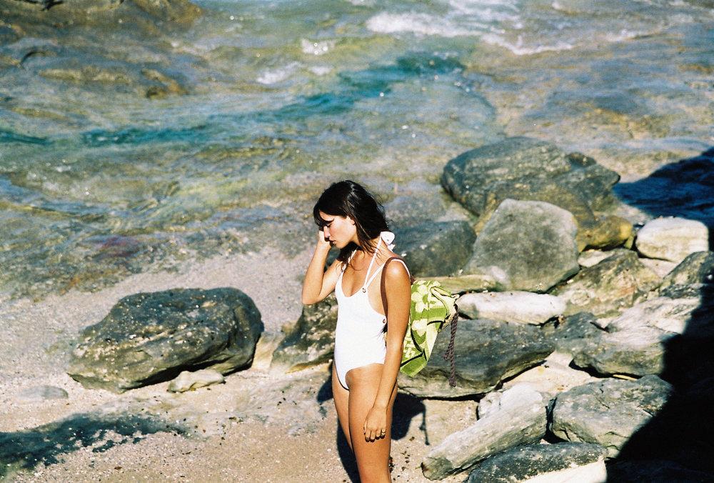 in your arms white solar knit one piece swimwear bikini