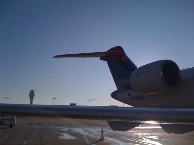 the ATL Control Tower in the background & my aircraft
