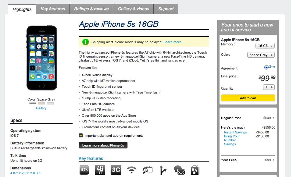 Sprint iPhone 5s