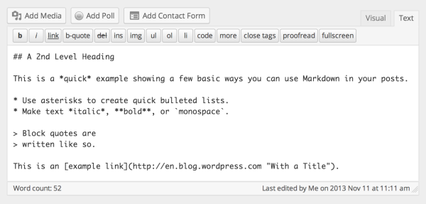 markdown in wordpress text editor