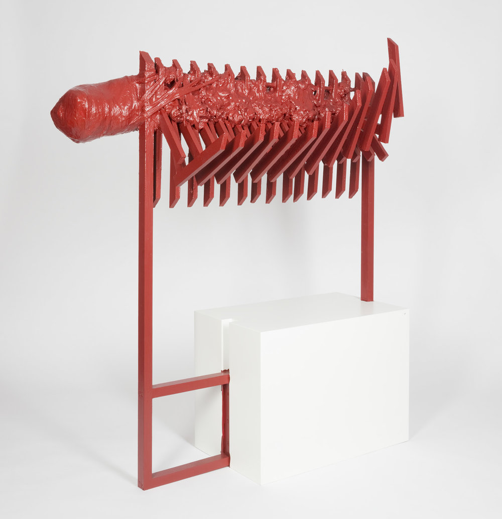 Deutscher Rehrücken , 2014  wood, building foam, plaster, gauze bandage, acrylic and wire, shirt, lacquer, shashlik skewer  152 × 125 × 40 cm