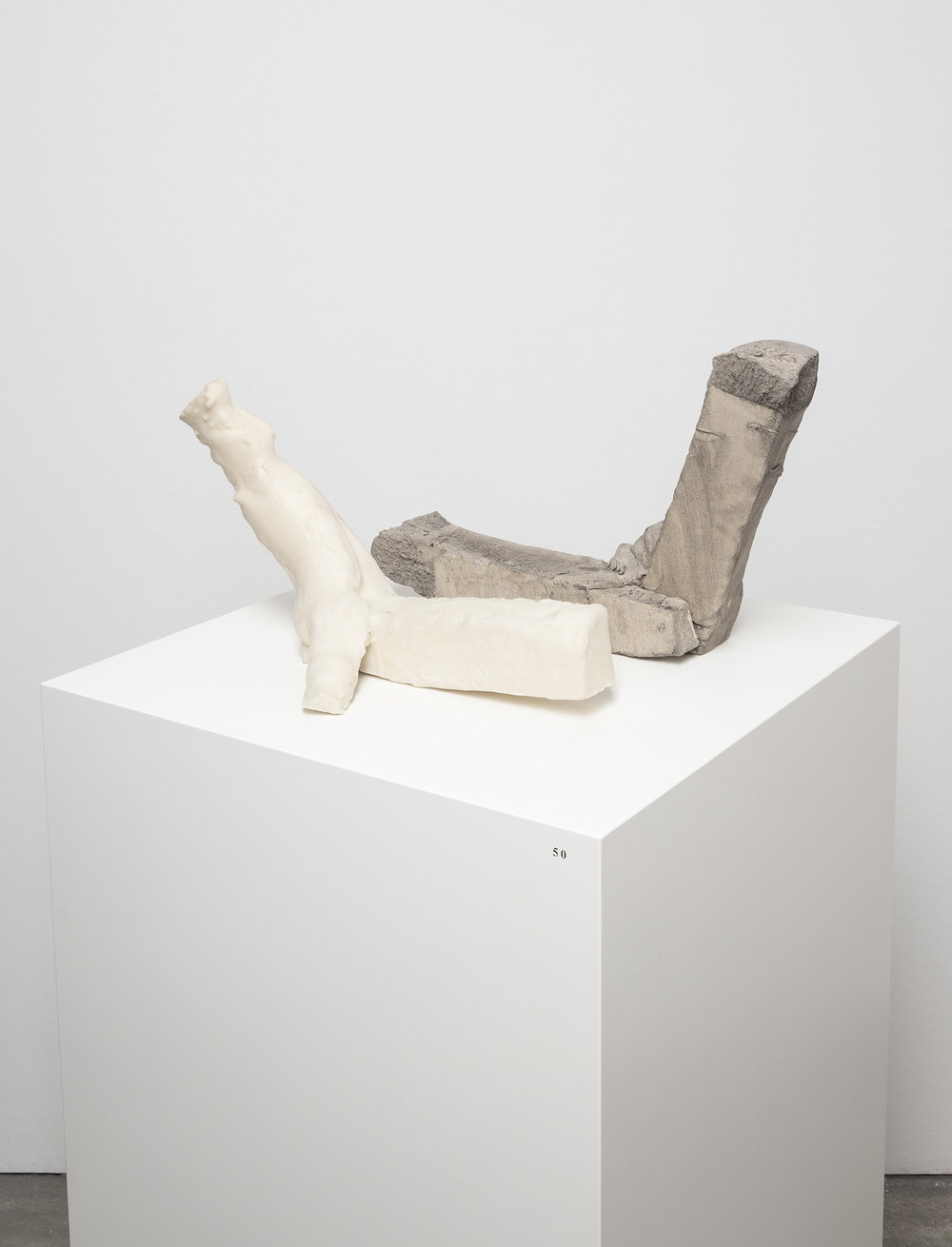 MM/S 152,  Michael Müller    Gebeine , 2012, 2 part work  clay, wax, ink  28 × 50 × 45 cm   100 × 50 × 50 cm