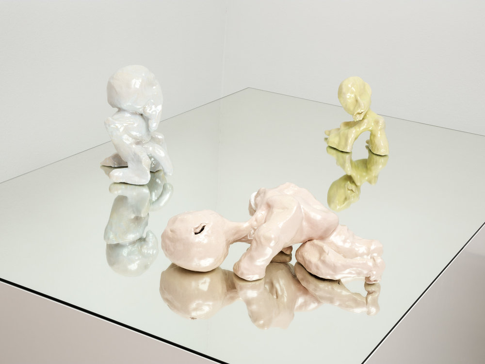 from left to right:   Spastiker , 2014, glazed ceramic  17 × 53 × 35 cm   Satyriasis , 2014, glazed ceramic  32 × 20 × 21 cm   Hysterikerin , 2014, glazed ceramic  24 × 20 × 22 cm