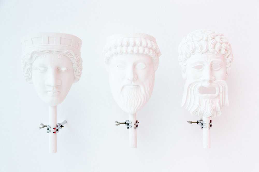 Agathon, Aristophanes, Socrates , 2016  3D print, test tube clamp