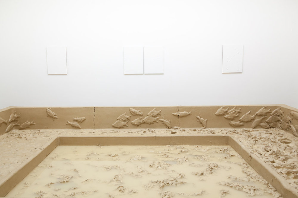 Passage auf dem Nil , 2016 ( detail image )  clay, water  80 × 793 × 637 cm