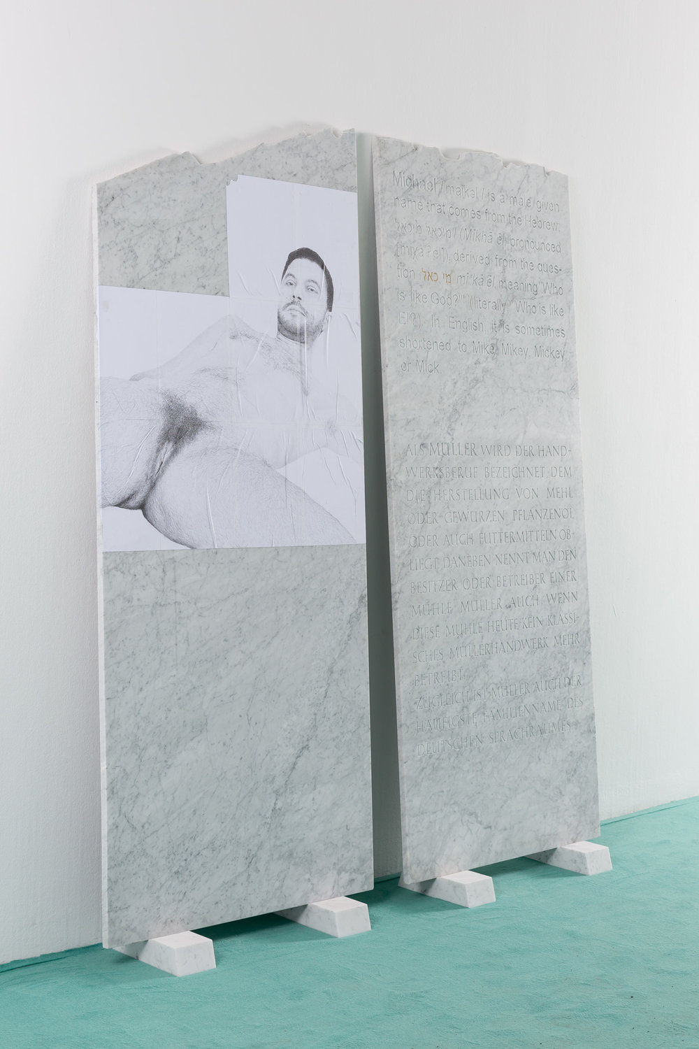"Selbstbildnis , 2015  ""Scham"" (part 1): pencil on paper, Bianco Carrara marble, ""Setzung""  (part 2): Bianco Carrara marble, paint, engraving  part 1: 180 × 80 cm   part 2: 190 × 80 cm"