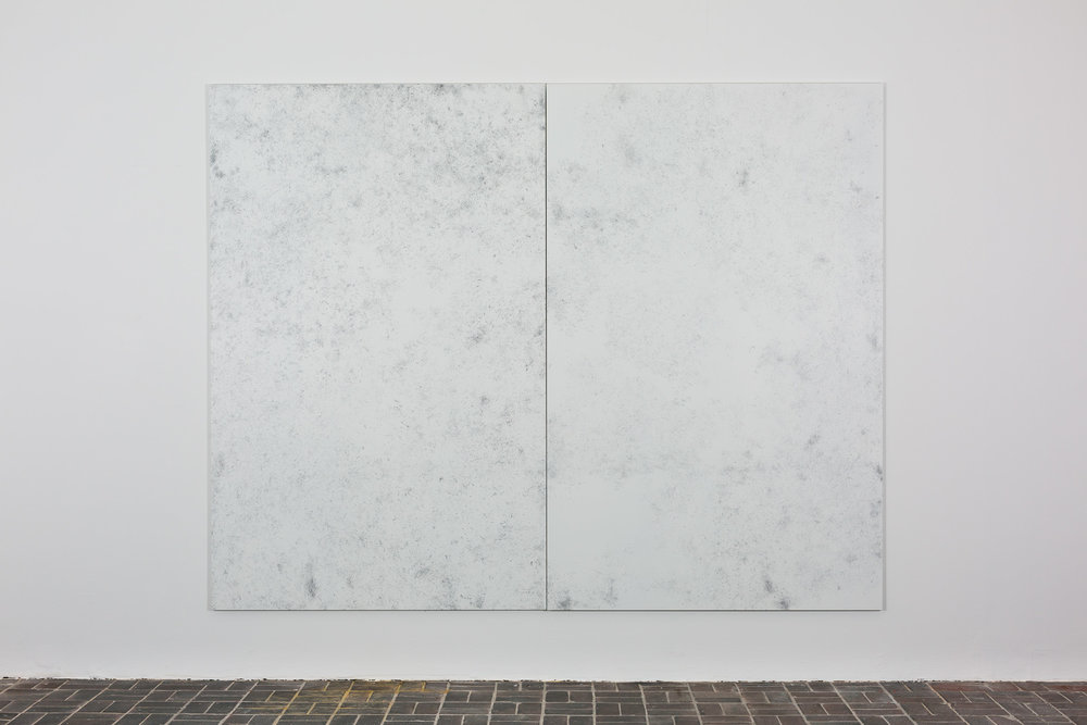 """Niederlegen (aus """"Hefte zum persönlichen Gebrauch"""") , 2011  pencil and acrylic on aluminium  each: 235 × 150 cm"""