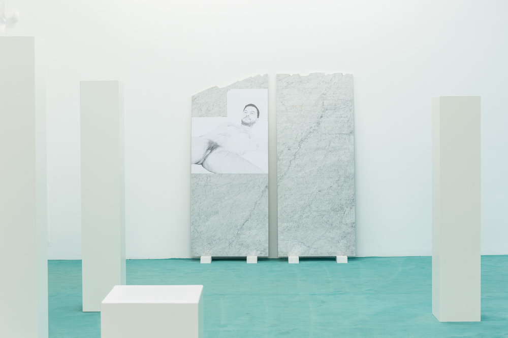 "Selbstbildnis, 2015  Scham"" (part 1): pencil on paper, Bianco Carrara marble, ""Setzung"" (part 2): Bianco Carrara marble, paint, engraving  part 1: 180 × 80 cm  part 2: 190 × 80 cm"