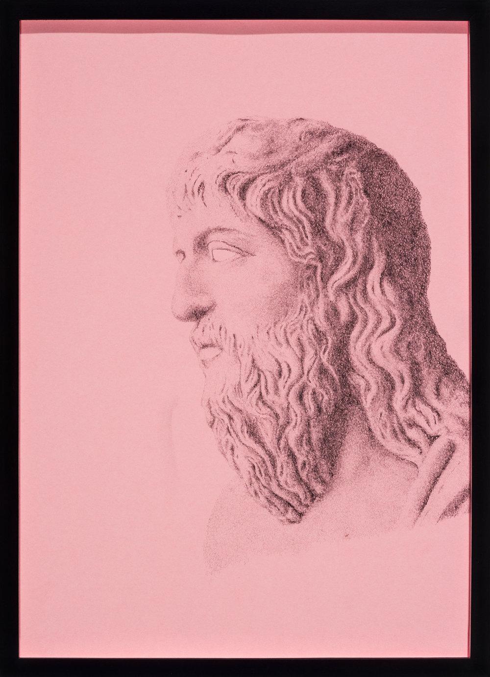 Abtragen oder hinzufügen (von vorne Heraklit von Ephesos)    Abtragen oder hinzufügen (von der Seite Heraklit von Ephesos)   2 part work, 2014,pencil on pink paper  each: 43,5 × 31,5 cm
