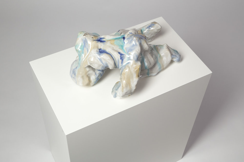 Das Leiden Christi , 2014  glazed ceramic, pedestal  16 × 36 × 22 cm (6 ¼ × 14 ⅛ × 8 ⅝ inches)  Dimensions variable