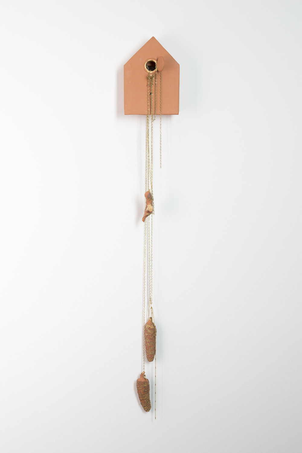 Freitod , 2014  clay, gouache and metal  150 × 20 × 14 cm