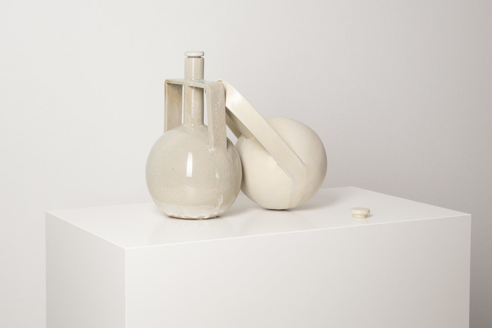 Gegenstände aus Siam , 2014, 2 part work  glazed ceramic, pedestal  glazed ceramic: 31 × 40 × 20 cm (12 ¼ × 15 ¾ × 7 ⅞ inches)  pedestal: 120 × 70 × 40 cm
