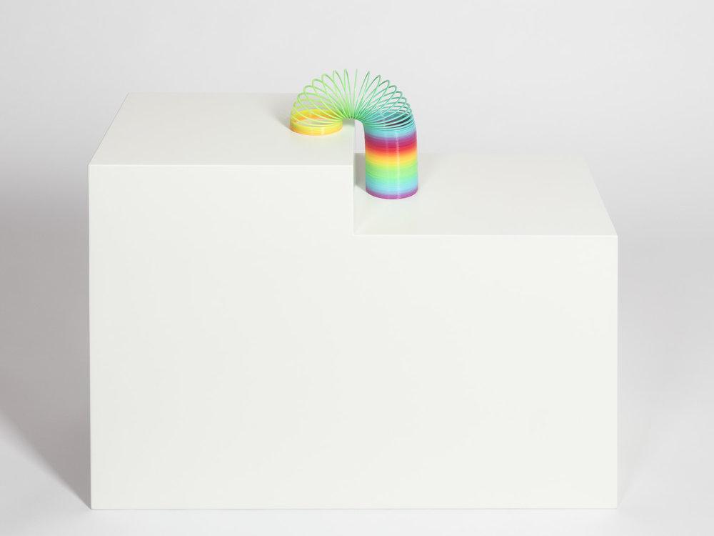 Kleines Glück , 2013  plastic spiral, MDF pedestal  pedestal: 60 × 70 × 30 cm